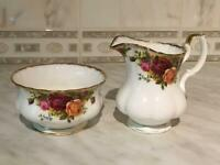 Royal Albert Country Roses Milk & Sugar Bowl Set
