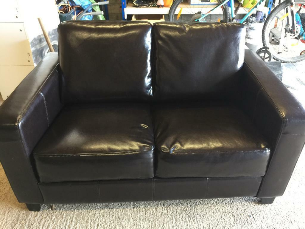 New Compact 2 seater Brown Leather sofa 140cm