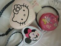 Various bits Hello Kitty shoulder bag,fairy purse,minnie mouse keepsake tin ect