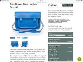 "Zatchels Cornflower Blue Leather Satchel 14.5""."