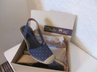 Clarks blue spotted sandals
