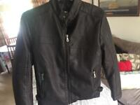 Leather men's dark brown jacekt