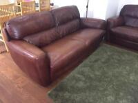 2 x Brown Italian Leather Sofas
