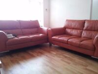 2 large two seater leather sofas (DFS), very good condition