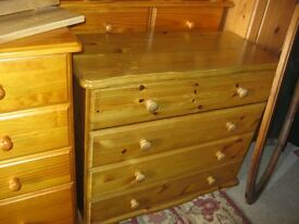 MODERN ORNATE SOLID PINE CHEST OF DRAWERS. 4 STURDY DRAWERS.IDEAL AS IS, OR PAINTED.VIEW/DELIVERY