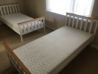 2 Single bed frame with mattress nearly new