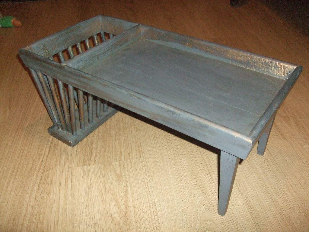 Vintage Shabby Chic Wooden Breakfast Tray With Newspaper