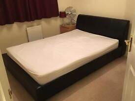 Double bed dark brown leather