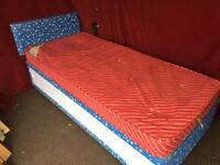 SINGLE DIVAN BED WITH UNDER STORAGE ,HEADBOARD AND MATTRESS,CAN DELIVER