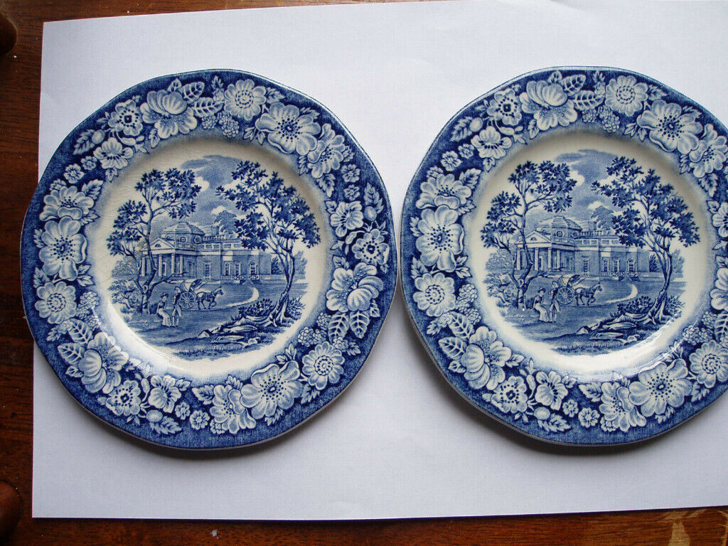 Wedgewood Liberty Blue Showing Monticello Thomas Jefferson´s Home Two Side  Or Wall Plates | in Wheatley, Oxfordshire | Gumtree