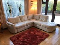 Ivory Leather Corner Sofa Good Condition