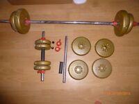 Weights 12 plates x2 4.5Kg. x6 2.3Kg. x4 1.1Kg. Large bar 170cm. x2 Small Bars 46cm