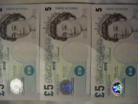 3 Merlyn Lowther/Elizabeth Fry £5 banknotes in sequential order (uncirculated condition)