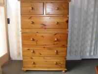 LARGE SIX DRAWER PINE CHEST OF DRAWERS FREE DELIVERY