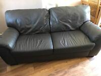 Three & two seater sofa in real brown leather