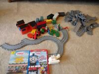 Thomas the tank train track, trains and DVDs