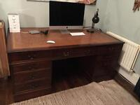 Antique leather topped partners desk