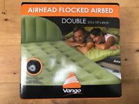 NEW VANGO AIRHEAD FLOCKED AIRBED Double 212 x 137 x 65cm Festival Camping Extra Bed