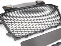 Gloss black honeycomb mesh car grill compatible with Audi A4 B8.5 S4 2012+