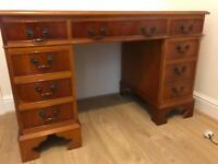 Vintage leather top twin pedestal writing desk