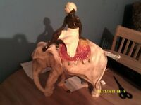 large chalk figure of a elephant and mahoot 1930s art deco