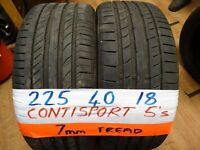 matching pair of 225 40 18 CONTISPORT 5s 6mm tread £80 pair sup & fittd(LOADS MORE AV 7-DAYS)