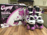 Adjustable Quad skates. Easy slide size adjuster size 13-3 safe lock buckles 32mm wheels.