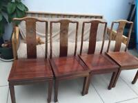 4 solid wood chinese style chairs