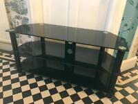 Glass black tv stand unit