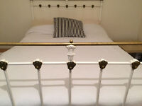 White Iron and Brass Edwardian Double Bed with Mattress