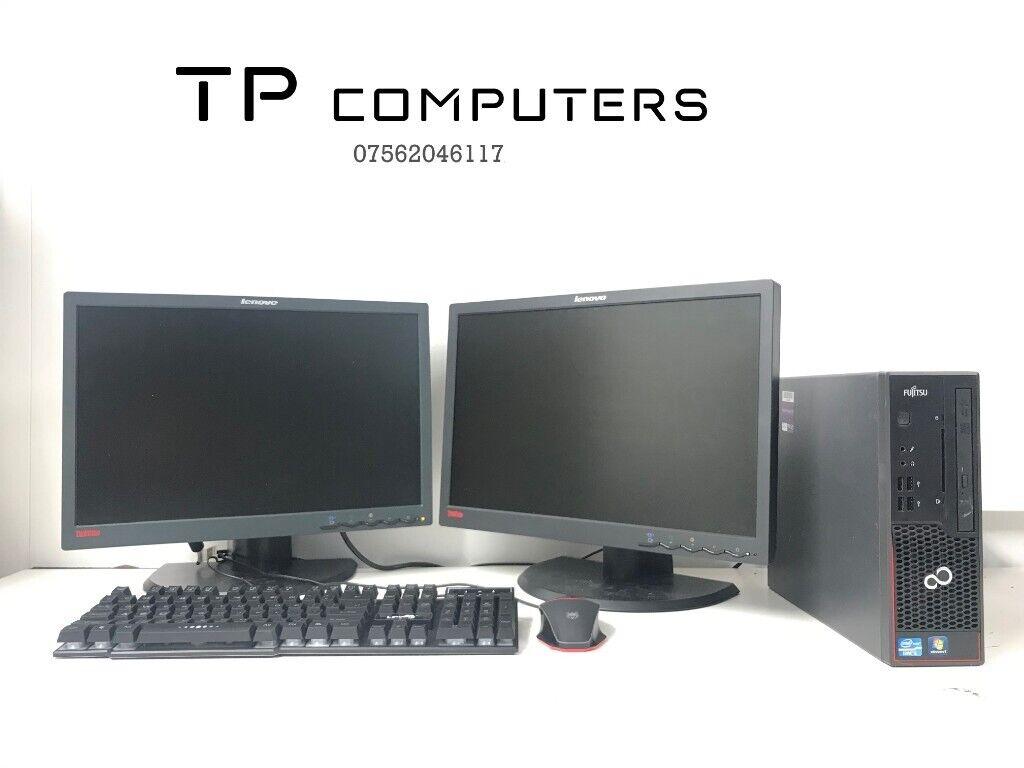 Dual Monitor Office Computer PC Setup (Intel i5, 4GB RAM, 250GB HD)   in  Belfast City Centre, Belfast   Gumtree
