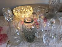 Wedding table decorations, 23 bud small & medium glass vases, crystal antique effect, vintage