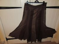 PER UNA SKIRT BROWN PANELLED HIPPY BOHO STEAMPUNK HARDLY WORN SIZE 16