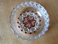 A Continental Glass Bowl With Red Heart Shaped Pattern on Both Sides in Perfect Condition.