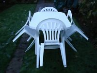 White UPVC Table and Chairs Set