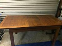 Solid dark wood dining table & chairs