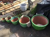 Premium quality glazed garden pots! Set of 5 Green/White