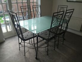 Bespoke hand made metal dining table and chairs