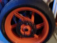 a pair of honda fireblade wheels/tyres 98to 2000 models may fit others