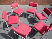 """6x Industrial Metal Job Lot 30x18x18"""" Padded Comfy Cerise Pink Office Chairs,Used,Strong,Recover,"""