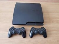 "Sony PlayStation 3 Slimline 160 GB ""Immaculate"" Black Console, Games, Controllers, and Bluray Remote"