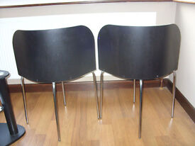 pair black dining room chairs