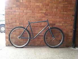 "bike 26"" steel frameset and wheels retro mtb tour beater shimano exage"