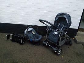 Silver Cross Travel System - includes pram/pushchair, car seat, isofix base and accessories
