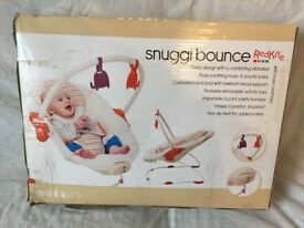 New Snuggi Bonce Redkite Vibrating Bouncer 0+ Month With Music & Toys