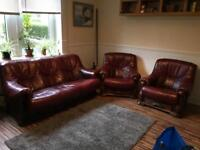 Red leather 3 piece suite for sale £300 ono