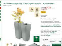H70cm Heritage Grey Flared Square Planter - By Primrose®