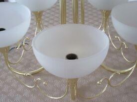 Light pendant: Endon 5-way brass light pendant with Murano glass shades