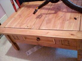 Coffee table big solid wood