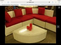 Paphos 6 piece All Weather Rattan Corner Sofa Set Aluminium frame white in colour with Red throw
